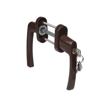 Ручка балконная двухсторонняя металлическая коричневая с замком