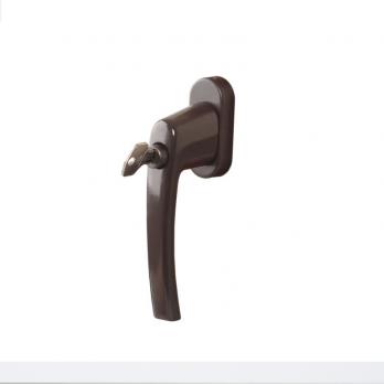 Ручка оконная металлическая с ключом коричневая